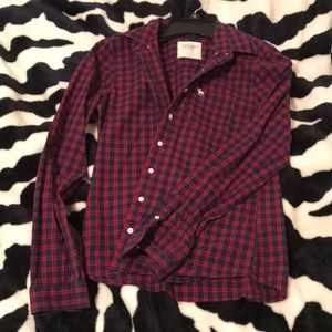 A&F navy and red flannel